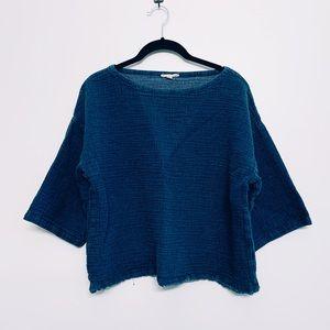 Linen/Cotton Oversized Crop Top